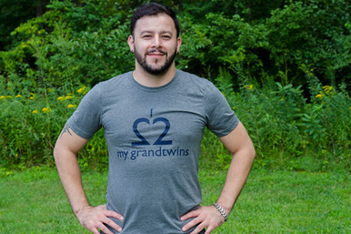 "Twin grandparent t-shirt ."" Love My Grandtwins"" tee in a soft gray tee with dark navy ink. The best twin grandparent tee."