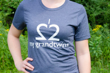 "Twin grandparent t-shirt .""I Love My Grandtwins"" tee in heather navy with white ink."