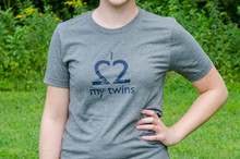 "Twin mom t-shirt ""I Love My Twins"" tee in gray with a distressed dark navy ink print."