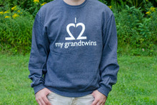 Grandtwin sweatshirt. Our twin grandparent sweatshirt is soft and comfy. Available in heather navy.