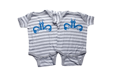 "Our infant twin ""Clever Crab"" set is a crab print incorporating the number 2 on the front of a grey and white striped bodysuit with the My Twins Are Cuter logo on the back of the shirt at the neck. This bodysuit is super soft and is 100% combed ring spun cotton. The perfect summer choice for twins!"