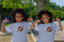 "Our My Twins Are Cuter infant ""Fun Football"" twinset is super soft. We placed a football on the front of the twin set with our signature #2 as the laces. The My Twins Are Cuter logo is on the back at the neck line."