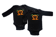 "Our My Twins Are Cuter infant ""Spooky Pumpkin"" twinset is a long sleeve, super soft bodysuit. Our Jack-o-lantern is designed with our signature number 2 and the My Twins Are Cuter logo is on the back at the neck line."