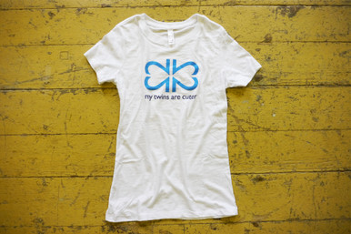 "Our white ""Original"" adult twin mom tee features our logo and tag line on the front of the tee."