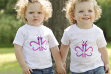 "Our twin ""Busy Butterfly"" toddler tee features a purple butterfly designed with the number 2!"