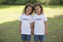 "Perfect for any twin set our ""Cuter Squared"" youth tee has the word cuter in a dark navy ink and 2 in either blue or pink ink.  Teachers love this design!"