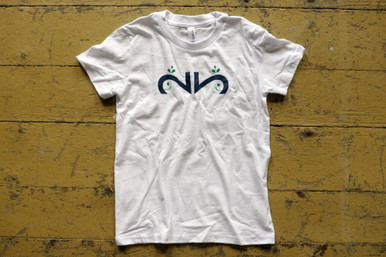 "Our twin ""Whimsical Whale"" youth tee features a whale, designed with the number 2, of course in dark navy ink with a green spray."
