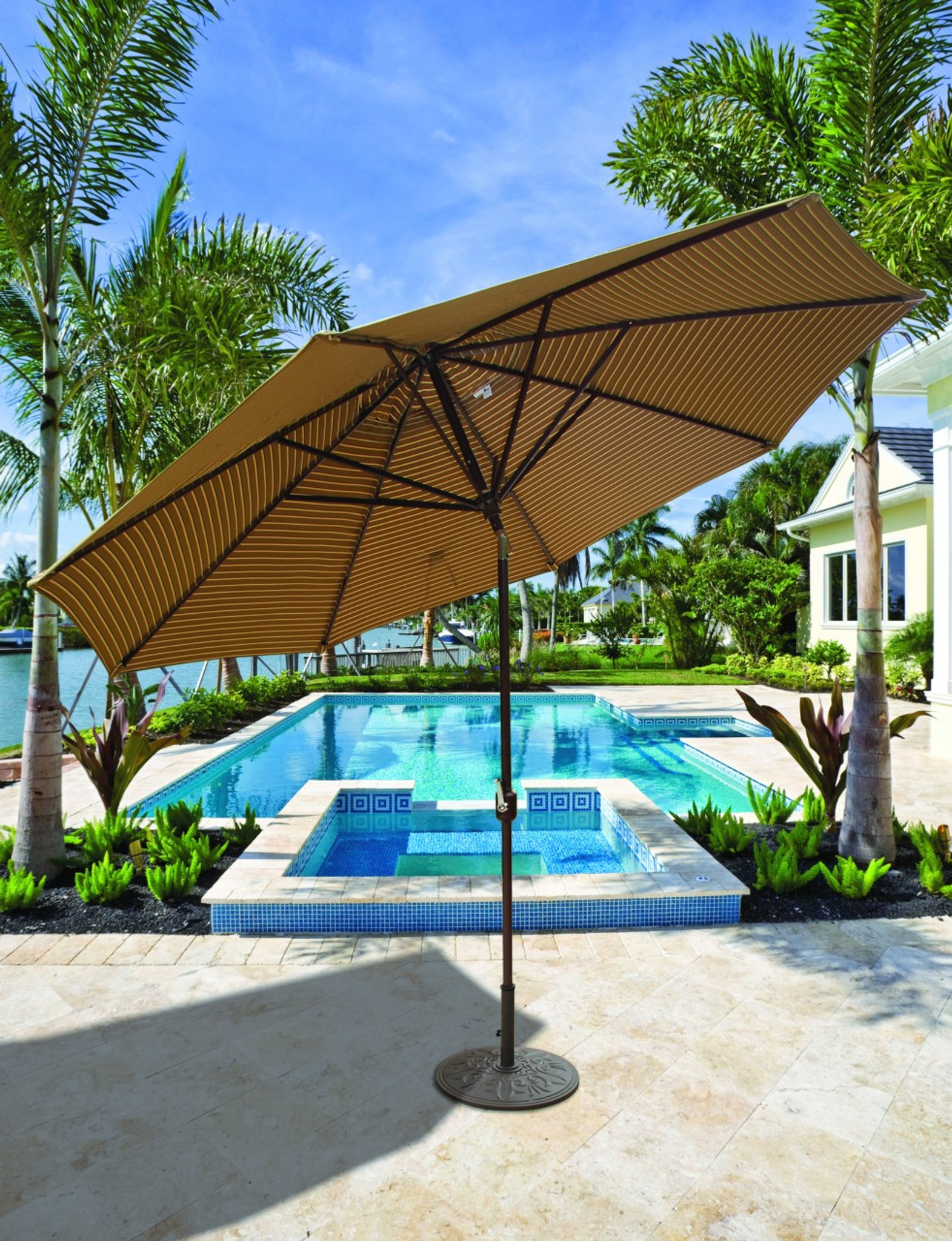 Patio Umbrella Crank Diagram: Galtech 11-ft. Aluminum Umbrella With Autotilt Crank Lift