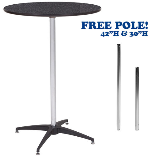 "30"" Round Premier Series Black Marble Laminate High Top Cocktail Table - Free Shipping"