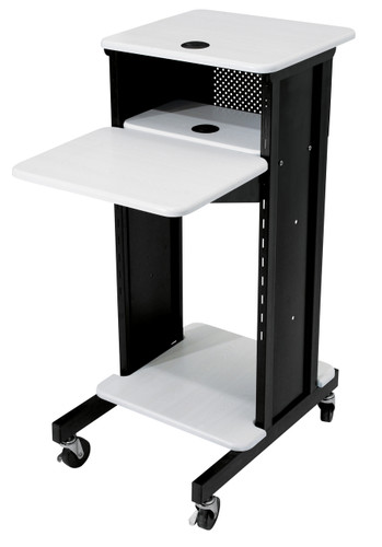 Premium Presentation Cart By Oklahoma Sound - Black / Ivory Woodgrain