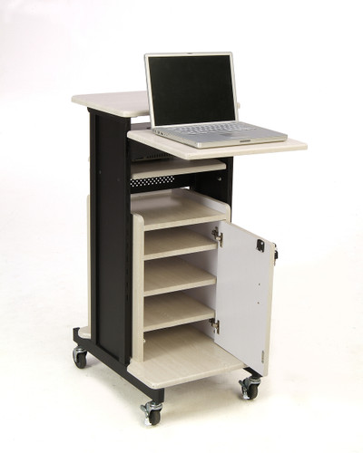 Premium Plus Presentation Cart By Oklahoma Sound - Black / Ivory Woodgrain