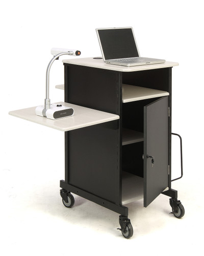 Jumbo Plus Presentation Cart By Oklahoma Sound - Black / Ivory Woodgrain