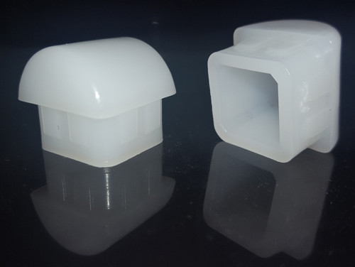 """100 pk 7/8"""" O.D. White Square Rocker Leg Inserts for Stacking Chairs - Free Shipping"""