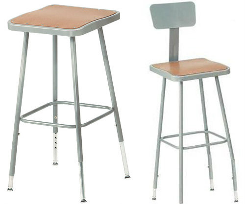 Adjustable Square Science Lab Stool With Hardboard Seat and Optional Backrest By National Public Seating - 3 Sizes - 10Warranty