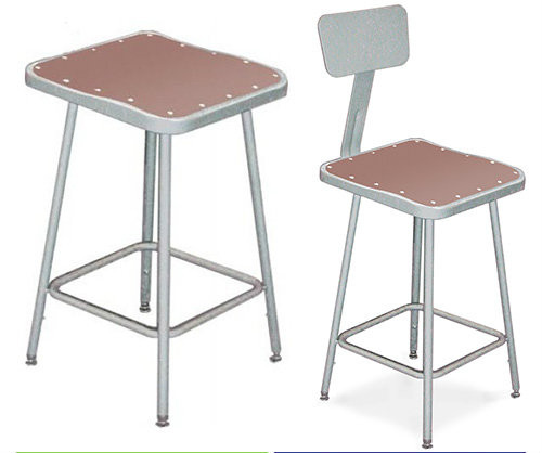 Square Science Lab Stool With Optional Backrest By National Public Seating - 3 Sizes - 10Warranty