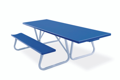 """Southern PikNik 30"""" x 96"""" Handicapped Accessible Deluxe Aluminum Picnic Table (64"""" Width bench-to-bench) - 10 Colors"""