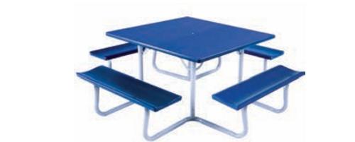 "Southern PikNik 48"" x 48"" (4 ft) Square Aluminum Picnic Table - 10 Colors"
