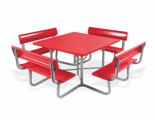 """Southern PikNik 48"""" x 48"""" (4 ft) Square Aluminum Picnic Table with Backrests - 10 Colors"""