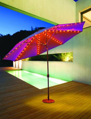 Galtech 11-ft. L.E.D.Aluminum Umbrella With Auto-tilt Crank Lift, Model 986 - Free Shipping - 10+ Colors