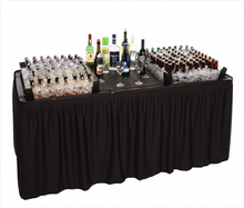 Fill 'N Chill Plastic Party Table Bundle With Extension Kits, Drain Valve, Skirting, and Storage Bag