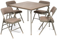5pc XL Series Folding Card Table and Fabric Padded Chair Set, Beige