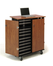 24 Capacity Laptop Charging and Storage Cart By Oklahoma Sound