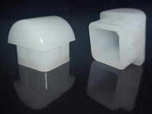 """100 pk 7/8"""" O.D. White Square Rocker Leg Inserts for Stacking Chairs"""