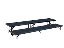 Blue 2 Level Multi-Level Tapered Portable Stage Risers With Carpeted Surface