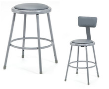 Grey Round Science Lab Stools With Padded Seat and Optional Backrest - 3 Sizes