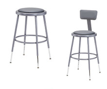 """Grey 19""""-27"""" High Adjustable Height Round Science Lab Stools With Padded Seat and Optional Backrest."""