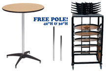 "10 Pack Bundle 36"" Round Premier Series Plywood Pedestal Cocktail Table With Storage Dolly"