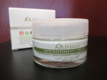 Olivella Nourishment Cream:  Anti-aging properties, natural anti oxidants, paraben free.  Rich in texture, made with a base of Virgin Olive Oil and natural ingredients of Rose hip seed oil, vitamin F, and Shea butter which have been carefully selected to maintain and revive the hydorlipid film of the skin leaving it visibly softer and elastic, without making it greasy.  Is excellent for the treatment of dry and dull skin that has lost its elasticity. Renews the look of your skin in its fast absorbing. Dermatologically tested. Use liberally to a clean  face and neck every night before bed. Gentle enough for everyday use.    - 1.69 fl. oz. / 50 ml. -  (Product of Italy)