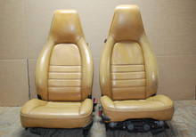 Porsche 911 964 Carrera TAN 4 Way Leather Seats Pair LEFT RIGHT Factory OEM