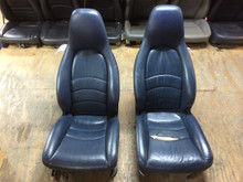 CORE SEATS Pair Perf Leather 4-way Porsche 993 Seats Blue