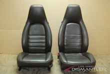 Porsche 911 964 Carrera Brown 6 Way Manual Leather Seats Pair LEFT RIGHT Factory