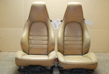 Porsche 911 964 Carrera Sport Seats Tan Perforated Leather 4x4 way OEM