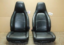 Porsche 911 993 Carrera Black Perforated Leather Seats w/ crest 8x8 way power OEM