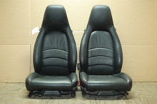 Porsche 911 993 Carrera Seats Black Supple Leather 4X4 way w/ Crest