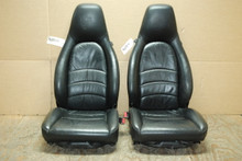 Porsche 911 993 Carrera Seats Black Supple Leather 8x8 way w/ Crest