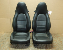 Porsche 911 996 Carrera Seats Black Perforated Leather OEM.