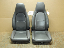 Porsche 911 993 Carrera Seats Grey Perforated Leather 4x8 way power with Crest OEM.