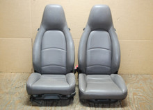 Porsche 911 993 Carrera Seats Grey Perforated Leather 4x8 way power OEM.