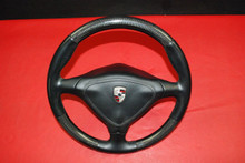 Porsche 911 996 996TT Carbon Fiber Steering Wheel w/ Airbag Black Leather OEM