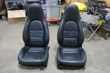 Porsche 996 911 986 Boxster Seats Pair L R Black Leather 2-way