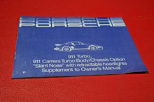 RARE ORIGINAL Porsche 911 930 Turbo Slant Nose Owners Manual Supplement Booklet
