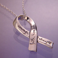 Affirmation Ribbon Sterling Silver Necklace
