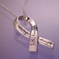 Affirmation Ribbon Sterling Silver Necklace