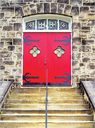 Red Church Door Greeting Cards (blank inside): Box of 12