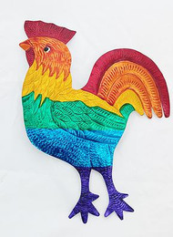 Large Tin Rainbow Rooster