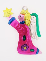 Magenta Tin Kneeling Angel With Candle